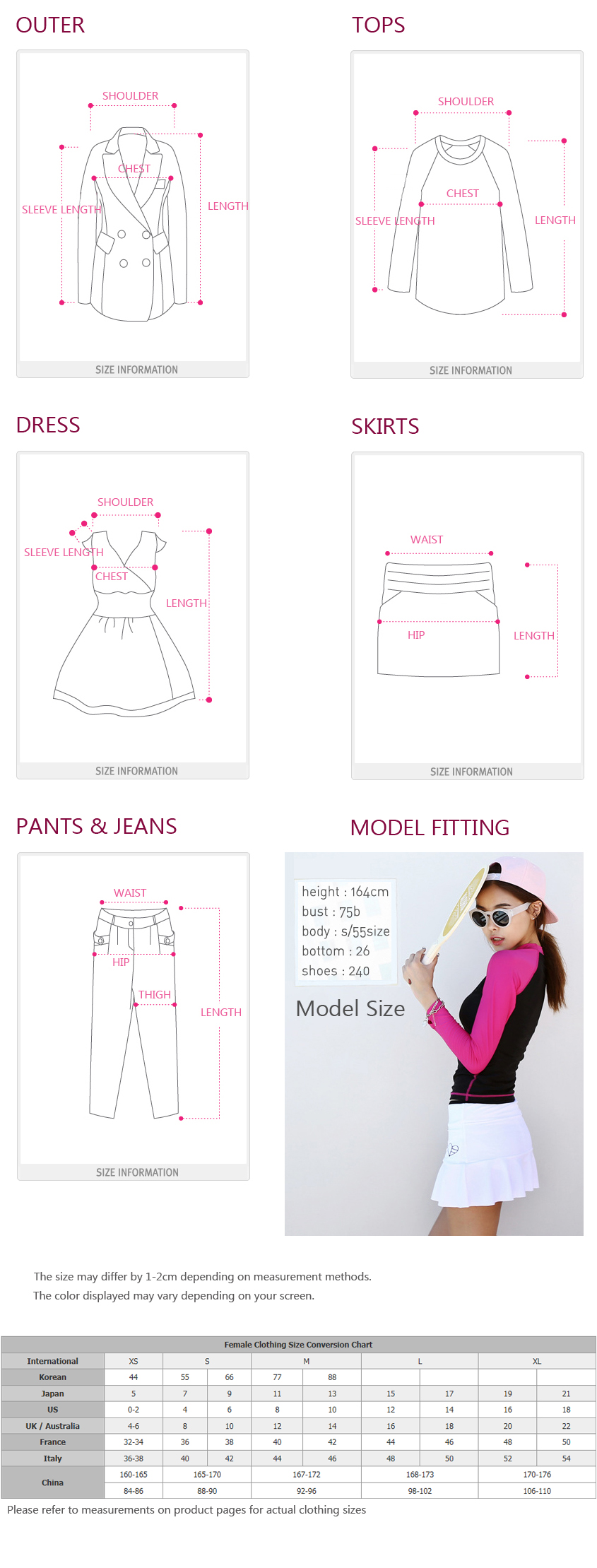 Womens Korean fashion Size