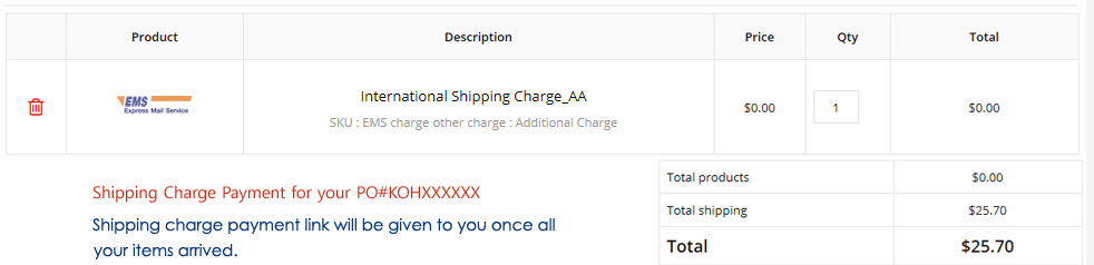 korean shipping charge