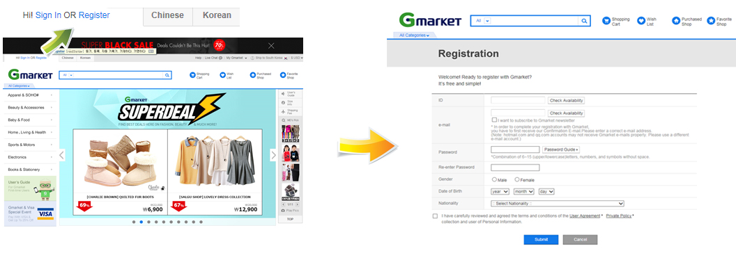 How to join Gmarket
